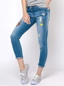 spodnie damskie z naszywkami Yups